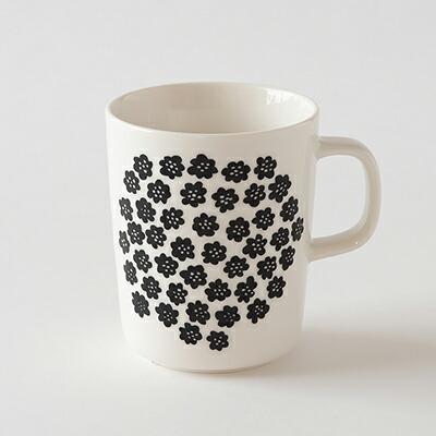 マグ プケッティ ホワイト×ブラック(マリメッコ) Mug(marimekko)