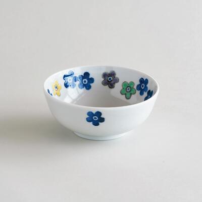 色絵彩勿忘草 4.5寸鉢(徳永遊心)