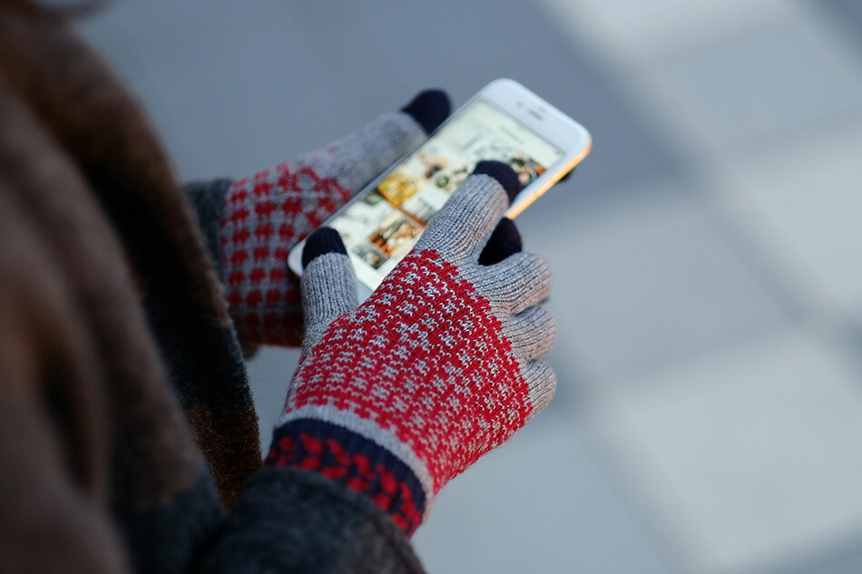 EVOLG Touch Panel Knit Gloves FLEUR