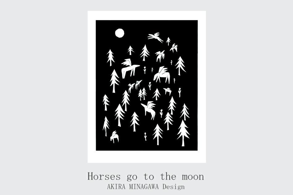 ホースオンザヒル、ホースゴートゥーザムーン ブランケット(クリッパン×ミナ ペルホネン) Horses on the hill、Horses go to the moon BLANKET(KLIPPAN×mina perhonen)