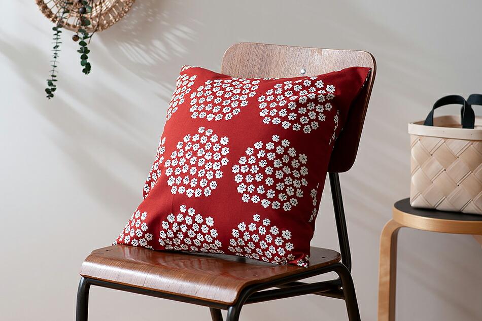 クッションカバー(マリメッコ) Cushion Cover(marimekko)プケッティ/Puketti,レッド×ダークブルー×ホワイト