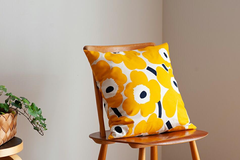 クッションカバー(マリメッコ) Cushion Cover(marimekko) ウニッコ/Unikko,イエロー×ダークブルー