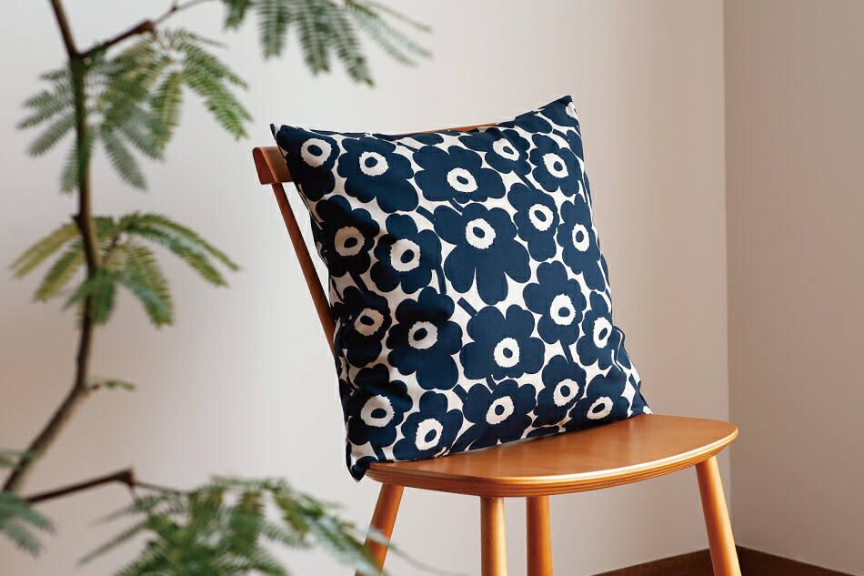 クッションカバー(マリメッコ)Cushion Cover(marimekko)ミニウニッコ ベージュ×ダークブルー