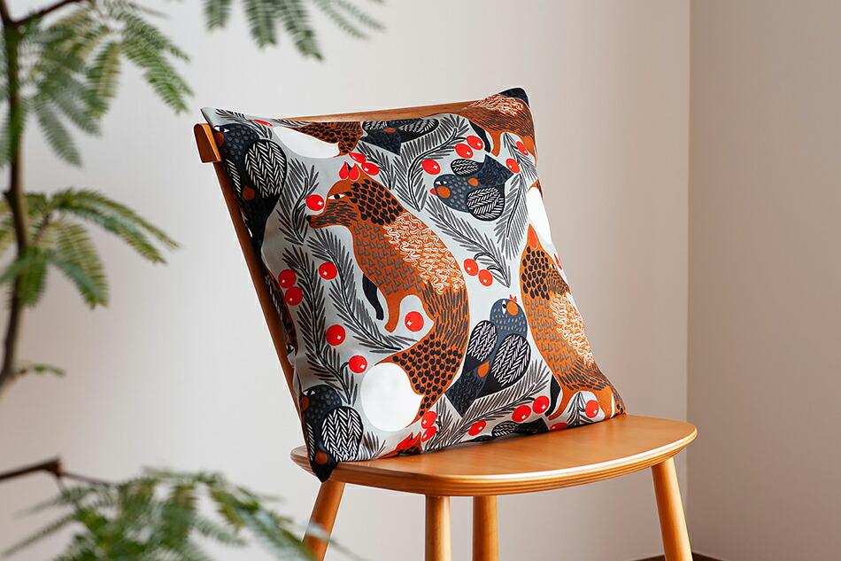 クッションカバー(マリメッコ)Cushion Cover(marimekko)ケトゥンマルヤ ライトグレー×ブラウン