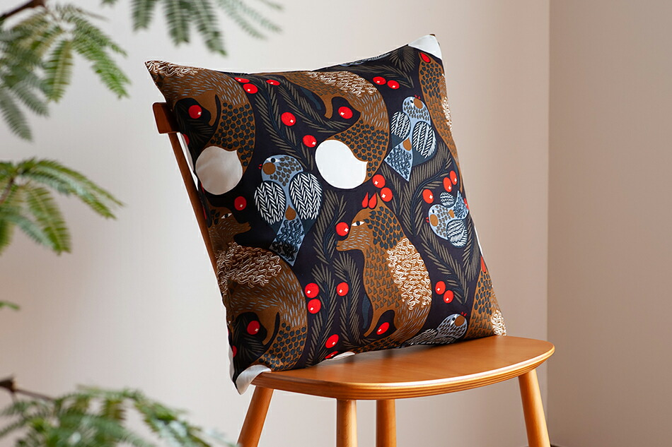 クッションカバー(マリメッコ)Cushion Cover(marimekko)ケトゥンマルヤ ダークブルー×ブラウン