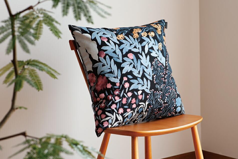 クッションカバー(マリメッコ)Cushion Cover(marimekko)ロウヒ ブラック×ブルー×レッド