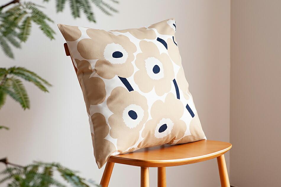クッションカバー(マリメッコ)Cushion Cover(marimekko)ピエニウニッコ オフホワイト×ベージュ