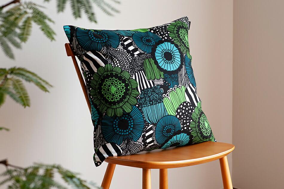 クッションカバー(マリメッコ)Cushion Cover(marimekko)シイルトラプータルハ ホワイト×グリーン
