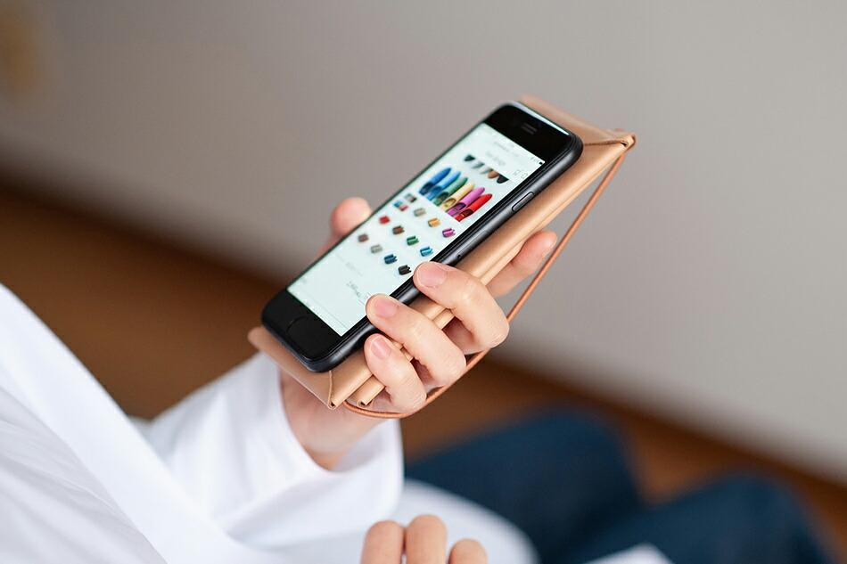 シームレス スマートフォンケース(イロセ/i ro se ) スマホケース、スマホカバー、アイフォン、スマートフォン、iphone、smart phone、カウレザー、牛革、本革、手帳型、スライド式、右利き、左利き、両開き