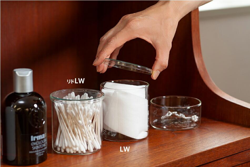 ボロシル ヴィジョングラス  Borosil  VISION GLASS イヤマ コスメ ドレッサー 綿棒 ケース コットン 容器 蓋 ふた ガラス トレイ