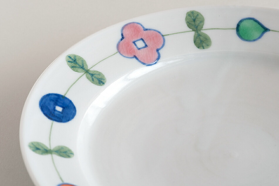 色絵幸せ花繋ぎ 6寸・7寸皿(徳永遊心)
