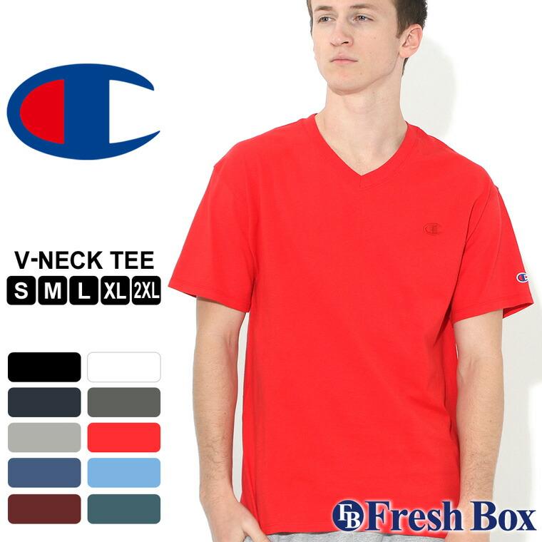 チャンピオン Tシャツ 半袖 Vネック 無地 大きいサイズ USAモデル ブランド Champion 半袖Tシャツ アメカジ S M L LL 2L 3L