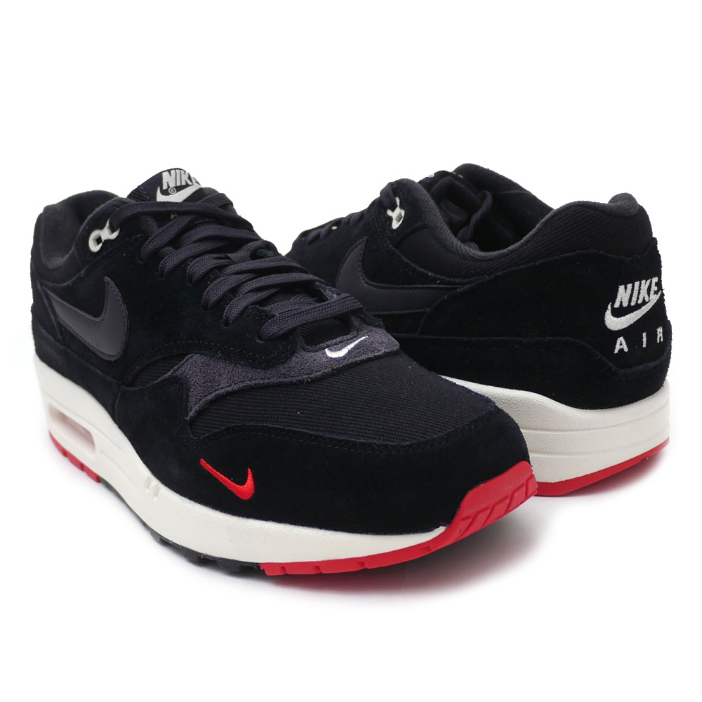 Nike NIKE AIR MAX 1 PREMIUM Air Max BLACKOIL GREY UNIVERSITY RED men 875,844 007 191013237