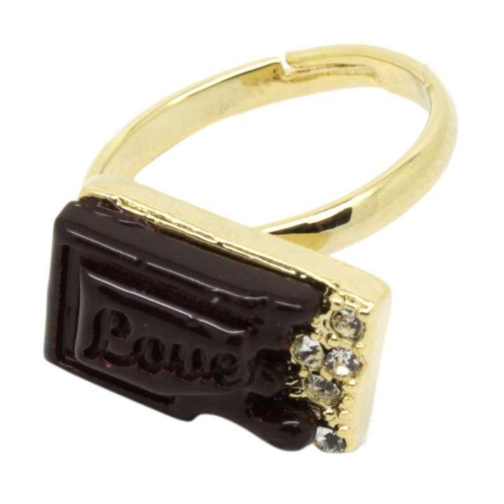 指輪 リング フリーサイズ チョコレート ラインストーン