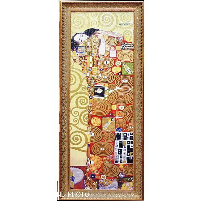 【ゴールドクリムト】グスタフ/クリムト「抱擁」ゴールドラメ絵画額LLサイズ(複製画/アートポスター/絵画額/インテリア額)選べるギフト包装・のし・メッセージカードも無料です