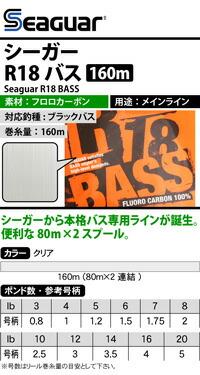 【ライン】 シーガー(Seaguar)シーガー R18 バス 160m(80m×2連結)(Seaguar R18 BASS)