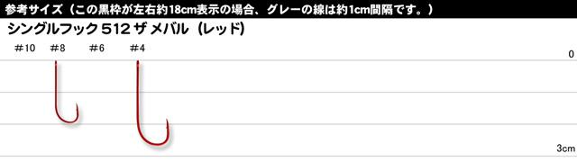 【ワームフック】 がまかつ SINGLE HOOK 512 THE メバル (レッド)