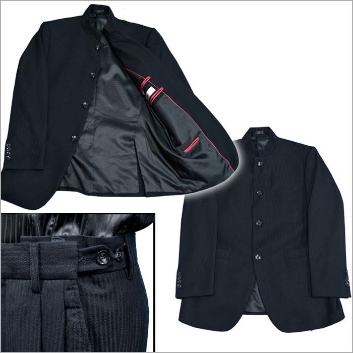 f98ffb50e3243 待望の新柄モデル☆マオカラースーツ! □大人の風合いが極め!黒ブラック シャドーストライプ柄  フロントオープンでラフスタイル モード