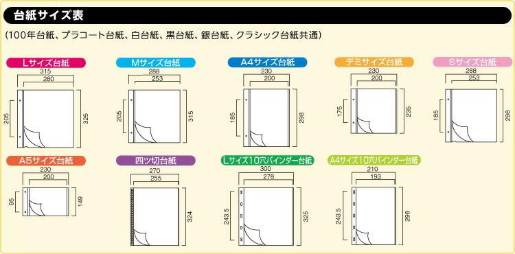 アルバム用補充替台紙サイズ表