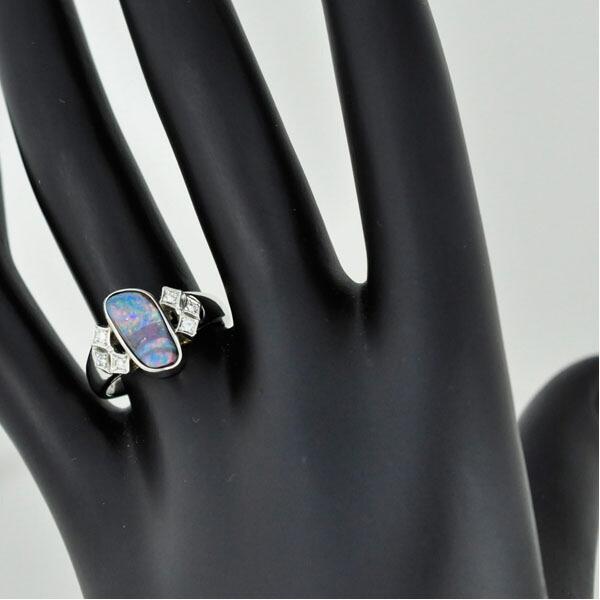 オパール&ダイヤモンドリング