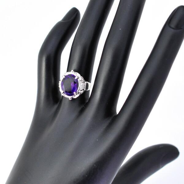 Pt900 アメジスト ダイヤモンド リング