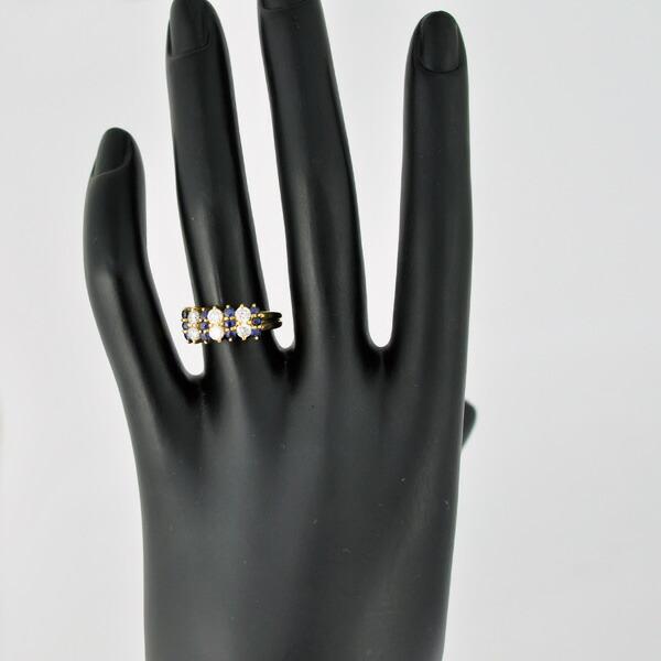 K18YG ダイヤモンド サファイア リング