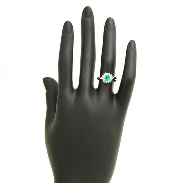 Pt900 エメラルド ダイヤモンド 指輪