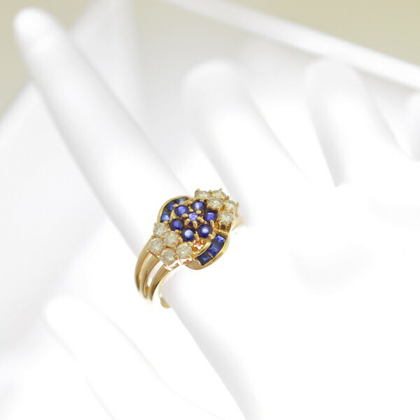 K18イエローゴールドダイヤモンドサファイヤリング