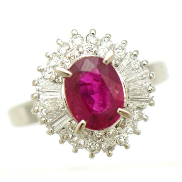 Pt900 ルビー ダイヤモンド 指輪