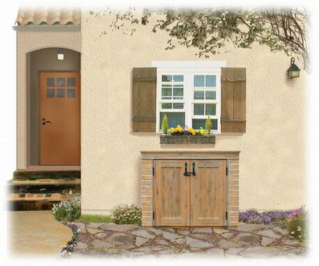 お庭や出窓の下にピッタリの小型物置。ベランダやウッドデッキにも最適な物置。