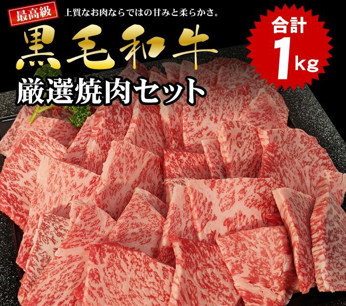 最高級黒毛和牛厳選焼肉セット1kg