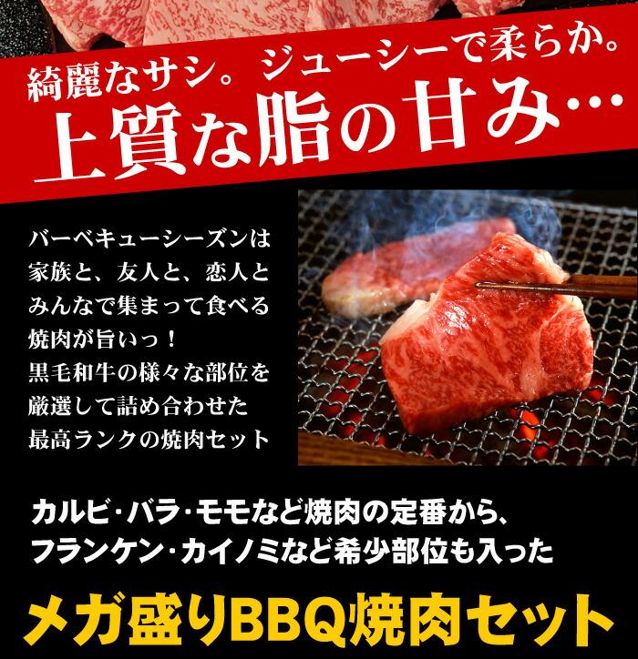 カルビ・バラ・モモなど焼肉の定番から、フランケン・カイノミなど希少部位も入ったメガ盛りBBQ焼肉セット