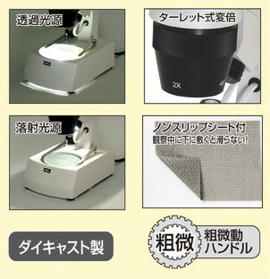 回転式双眼実体顕微鏡(充電式LED)