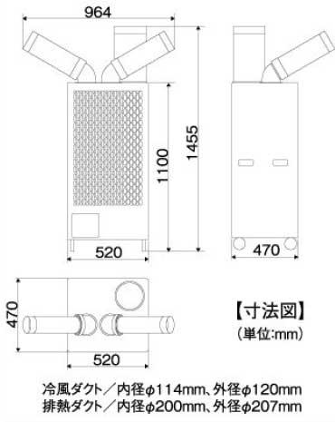 ナカトミ首振りツインダクトスポットクーラーSAC-4500 (三相200V)