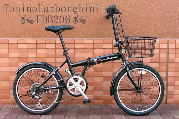 ToninoLamborghini(T・ランボルギーニ) 20インチ 折りたたみ自転車 6段変速 ブラック FDB206 50230-01