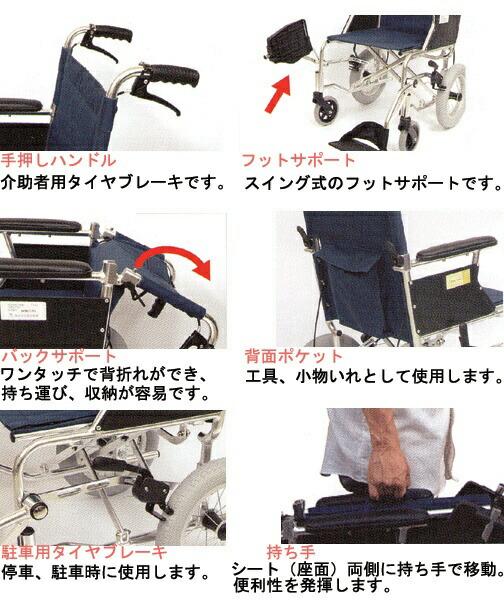 手押しハンドル、フィットサポート、バックサポート、背面ポケット、駐輪用タイヤブレーキ、制動用ハンドブレーキ