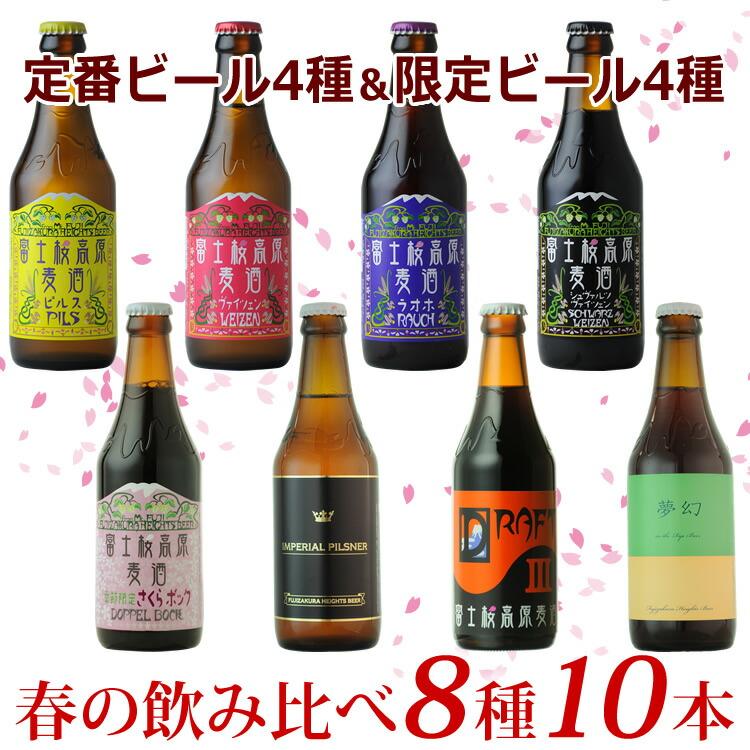 「富士桜高原麦酒」定番ビール4種と限定ビール4種