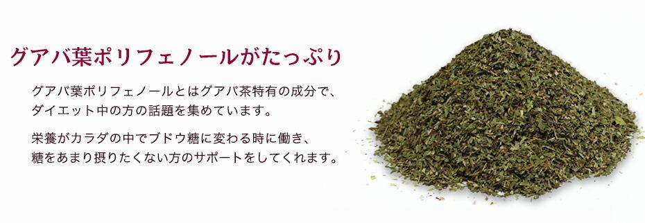 お茶に含まれるグアバ葉ポリフェノールという成分がダイエットを応援してくれます。