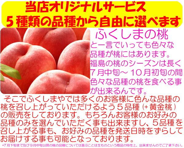 当店オリジナルサービス 5種類の品種から自由に選べます  ふくしまの桃と一言でいっても色々な品種が桃にはあります。福島のもmのシーズンは長く7月中旬〜10月初旬の間で色々な品種の桃を食べるころが出来るんです。  そこでふくしまやでは多くのお客様に色んな品種の桃を召し上がっていただけるよう5品種(暁星・あかつき・まどか・川中島白桃・ゆうぞら)+黄金桃・黄貴妃の販売をしております。もちろんお客様のお好みの品種の実を選んでいただく事も出来ますし、5品種を召し上がる事も、お好みの品種を発送日時をずらしてお届けする事も可能となっております。 ><p> どうしてそんな事が可能なのでしょうか?<p> <img src=