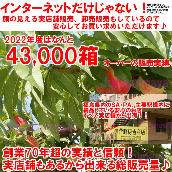 ふくしまや実店舗『菅野房吉商店』と合わせて昨年度の桃総出荷数60,000箱オーバーの出荷となりました。今年も『皇室献上桃の郷『桑折町産』の桃。