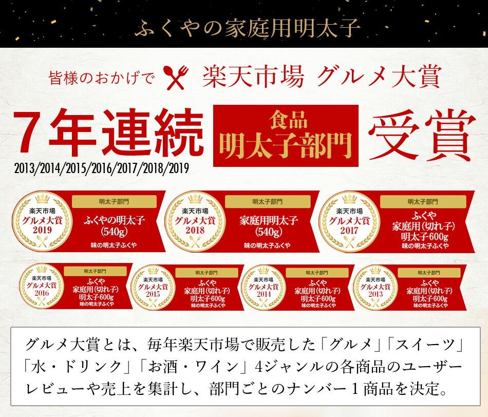 ふくや 家庭用明太子 楽天市場グルメ大賞7年連続受賞
