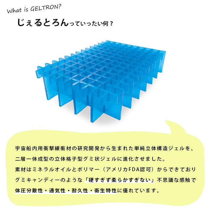 What is GELTRON? じぇるとろんっていったい何?宇宙船内用衝撃緩衝材の研究開発から生まれた単純立体構造ジェルを、二層一体成型の立体格子型グミ状ジェルに進化させました。素材はミネラルオイルとポリマー(アメリカFDA認可)からできておりグミキャンディーのような「硬すぎず柔らかすぎない」不思議な感触で体圧分散性・通気性・耐久性・衛生特性に優れています。