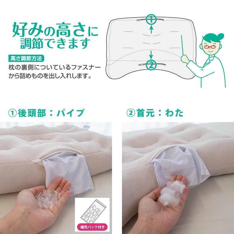 好みの高さに調節できます 高さ調節方法 枕の裏側についているファスナーから詰めものを出し入れします。 後頭部:パイプ 首元:わた 補充パック付き
