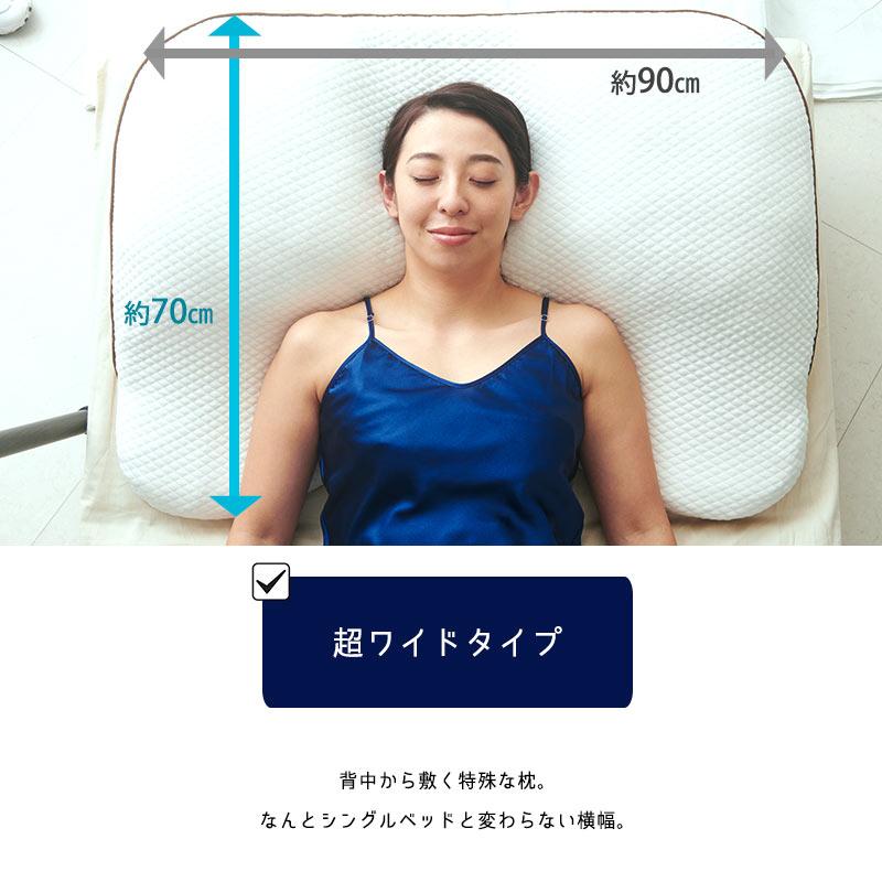 約90cm 約70cm 超ワイドタイプ 背中から敷く特殊な枕。なんとシングルベッドと変わらない横幅。