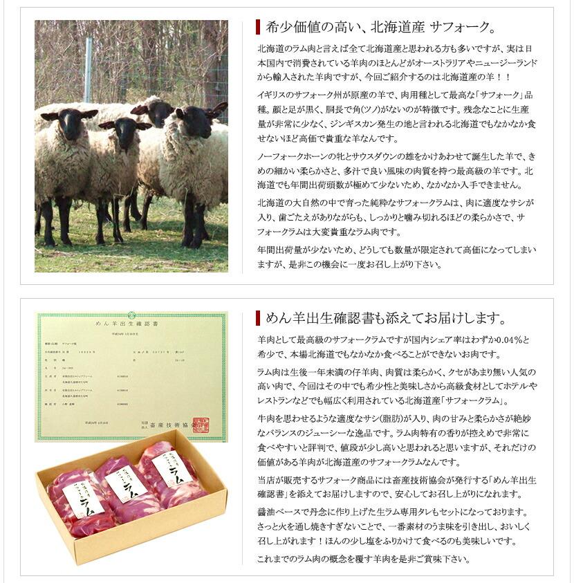 千歳ラム工房 北海道産 サフォークラム ジンギスカン(たれ付き)