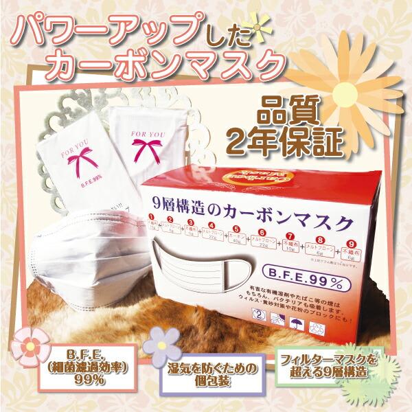 品質 2年保証  ■ B.F.E. (細菌濾過効率) 99% ■ フィルターマスクを超える9層構造 ■ 湿気を防ぐための個包装