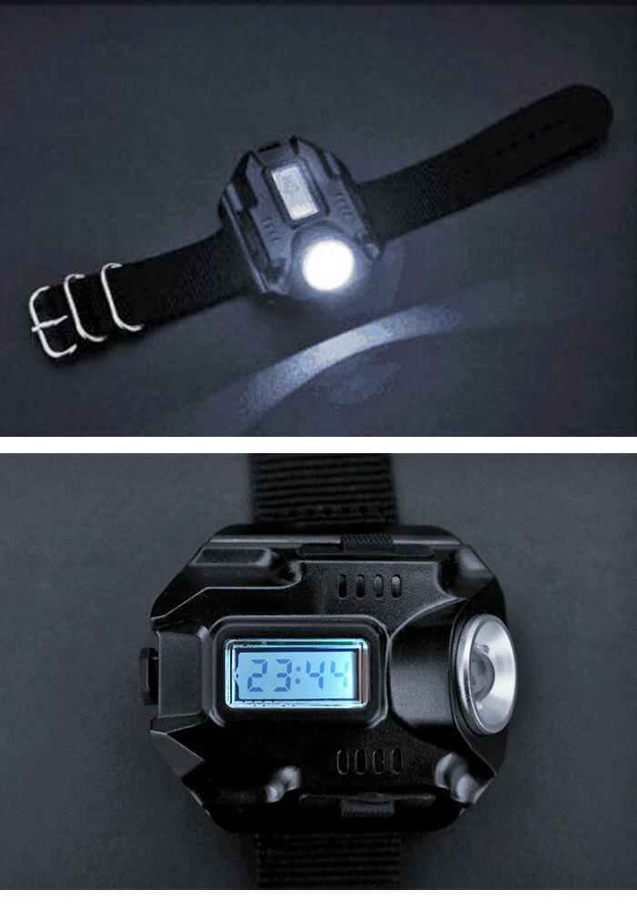 4618429a19 アウトドアにも便利です♪200メートル先まで可能! 腕時計型 LEDライト | ハンディライト リストバンド 時計 USB アウトドア 懐中電灯  非常用ライト