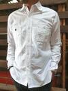 オックス素材 スリムワークシャツ ホワイト