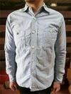 オックス素材 スリムワークシャツ ブルー