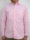 オックス素材 スリムワークシャツ ピンク